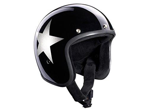 Bandit - Casco Jet Semi-Integrale da Moto, Decorato con Stella, con Visiera Parasole, Colore: Nero