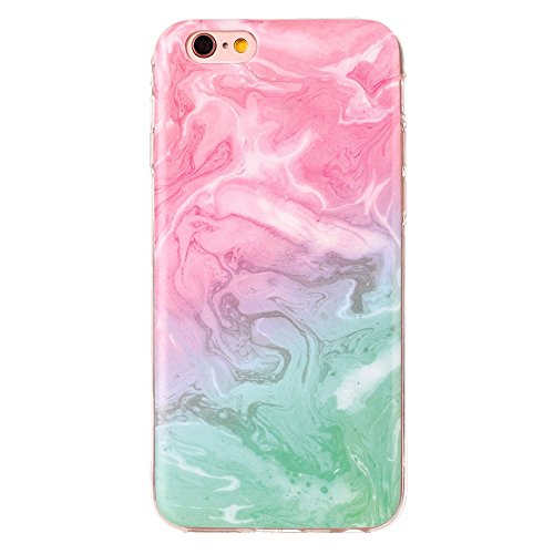 "MOONCASE iPhone 6/iPhone 6s Housse, [Colorful Marble Pattern] Ultra Thin TPU Anti-dérapante Anti-choc Protection Etui Case pour iPhone 6/iPhone 6s 4.7"" Brown Pink Green"