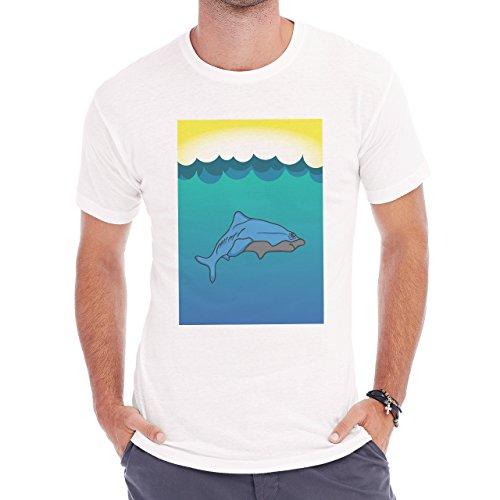 Shark Sea Fish Predator Blue Waves Herren T-Shirt Weiß
