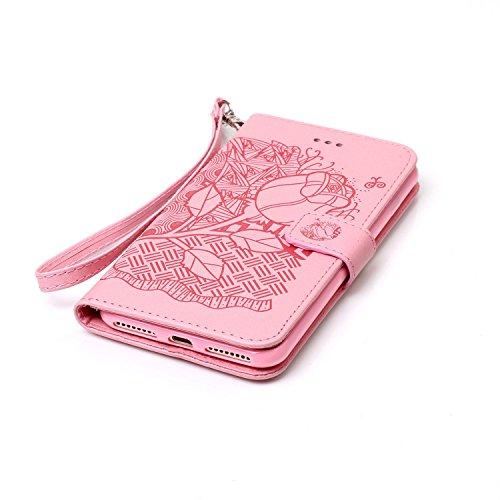 iPhone 7 Plus 5.5 Cover a Libro,iPhone 8 Plus 5.5 Cover Portafoglio,BtDuck Morbido Slim Cover Flip Magnetica Custodia Pelle Borsa e Portafoglio Tasca Progettato Morbido Silicone Back Case Bumper Case  #B Rosa