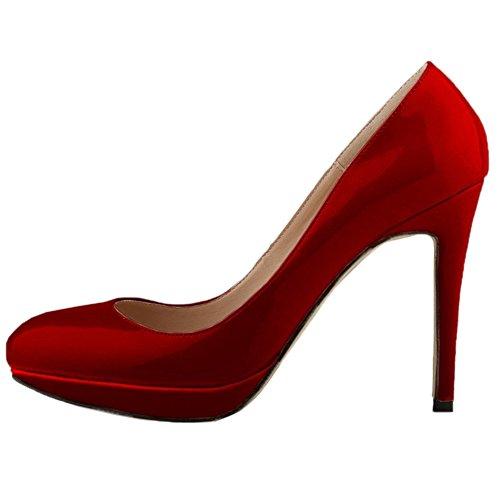 HooH Femmes Escarpins Plateforme Talon haut Robe Escarpins Mariage Chaussures a enfiler Wine Red