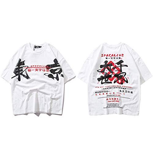 Japanische Harajuku Streetwear Männer Hip Hop T-Shirt Japan Style Sommer Tokyo Letters Tops Kurzarm Baumwolle White XXL -