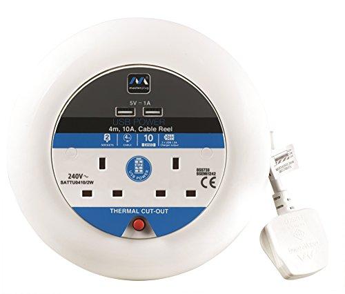 15m Masterplug Pro-XT Extensi/ón el/éctrica con carrete de cable y toma m/últiple x4