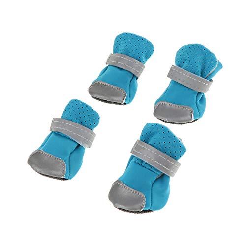 Sharplace 4pcs Stivali da Cane Impermeabile Calzini Stivali da Neve Caldi in Gomma E Tessuto Antiscivolo per Animali Domestici - Blu S
