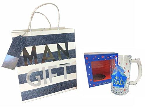 No. 1dad boccale da birra in vetro in scatola regalo & uomo confezione regalo set per festa del papà