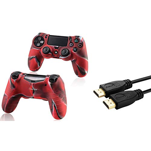 flage Navy Red Silikon Skin mit FREE Ein 10FT High Speed ??HDMI-Kabel mit Ethernet M / M kompatibel mit Sony PlayStation 4 (PS4) Regler ()