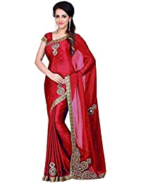 Sareena Designer Sarees Women's Red Chiffon Heavy Party Wear Sarees For Women Latest Design 2018 Mega Sale Offer...