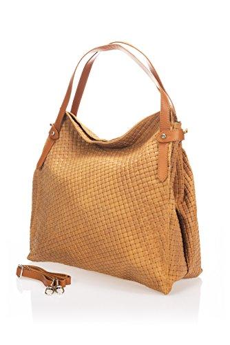 Laura Moretti - Bedruckte Wildledertasche mit Reißverschluss (HOBO-Stil)