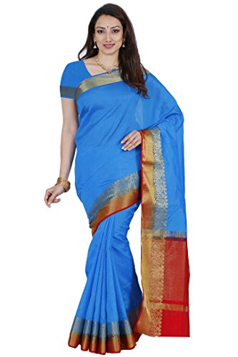 Mimosa By Kupinda Women's Tusser Silk Saree Kanjivaram Style Color :Sky Blue (3450-2123-AND-RD)  available at amazon for Rs.1179