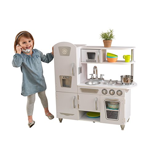 KidKraft 53402 White Vintage Wooden Pretend Play Toy Kitchen for Kids with role play phone included