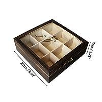 Kurtzy Boîte à Thé en Bois, 9 Compartiments avec Fenêtre en Verre - Rangement pour Sachets de Thé, Capsules Nespresso