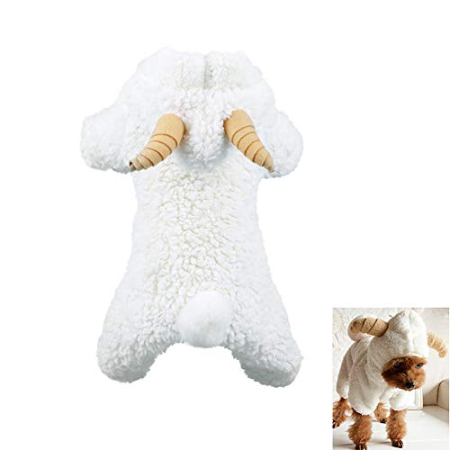 mxdmai Hund Winter Kleidung Süße Schaf Jacke Kostüm Lamm weiche warme Korallen Fleece Haustier Hoodie Mantel Dicke Samt Kapuzenpullover Party Dress Up für Weihnachten, XL
