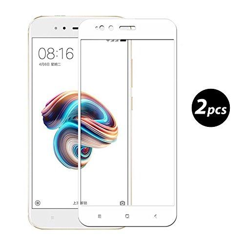 [2-Unidades] EUGO Xiaomi Mi A1 Protector de Pantalla, Alta Definicion No hay Burbujas Vidrio Templado HD Film Protector de Pantalla Screen Protector Cobertura Completa Blanco