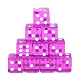 Manyo 10pcs 6 Seitige Transparent Würfel, leicht und tragbar, perfekt für Brettspiel, Club und Bar Spiel Tool, Familienspiel, Math Teaching. (Lila)