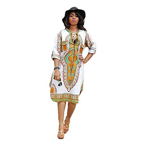 917a844f8fe6 Theshy Vestiti da Partito Tradizionali della Stampa Africana del V-Collo  Profondo Casuale di Estate