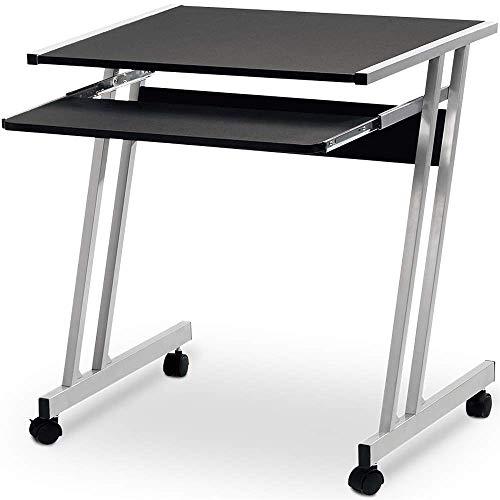 Bureau Informatique Meuble PC Ordinateur Table Tiroir Rangement Noir roulettes Chamb