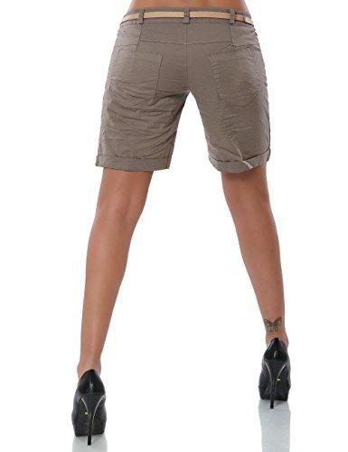Damen Shorts Chino Kurze Hose inkl. Gürtel (weitere Farben) No 13908 Khaki