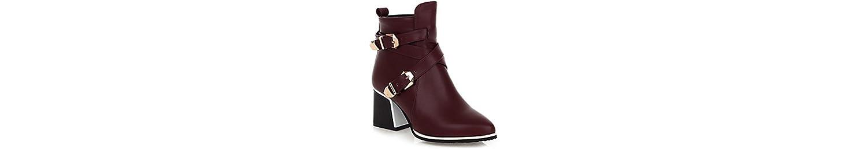 ZHZNVX HSXZ Zapatos de Mujer PU Primavera Otoño Comfort Novedad Bootie Botas de Tacón Chunky Señaló Toe Botines... -