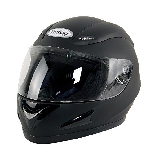 Yorbay Motorradhelm Integralhelm Sturzhelm Helm mit verschienden Typen & in unterschiedlichen Größen (Schwarz matt, M)
