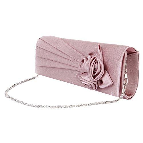 Frauen Clutches Handtasche Schulter Kupplung Tasche Satin Rose Abend  Partei (Creme) Blass Rosa