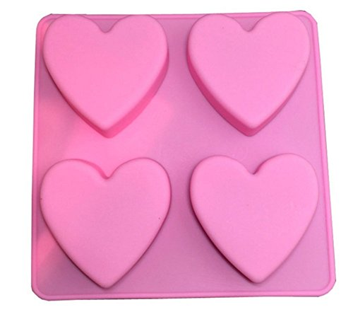 Cupcinu 4 Hohlraum Herzform Silikonform Fondant Kuchenform DIY Gummi Candy Schokolade Seifenform Kreative Dessert Mold Backform