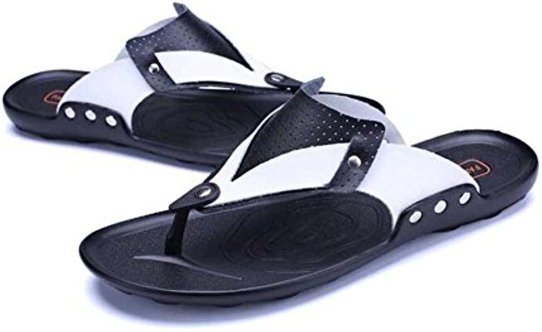 DHFUD Sommer Sandalen Leder Herren Freizeitschuhe OffenToed Sandalen Atmungsaktiv Coole Lederschuhe