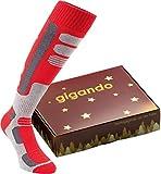 gigando | Thermo Skistrümpfe | Leichte Kompression zum Snowboarden & Skifahren | 1 Paar | rot | 43-46