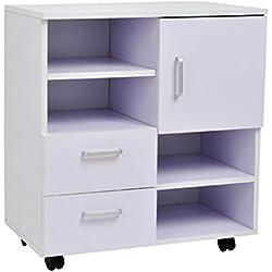 Homcom - Mesa armario movil mueble tv madera + cajones y puerta consola comedor cajonera