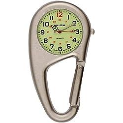 uWANTit Silver Clip On Sports Carabiner Metal Klox Fob Watch Luminous Dial Paramedic Doctor Nurse Unisex Men Women