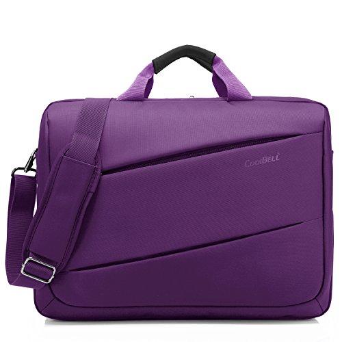CoolBell 17,3 Zoll Laptop Messenger Bag Multifunktional Aktentasche mehrfachfach Handtasche mit Schultergurt für MacBook/Acer / HP/Dell Alienware/Lenovo / Herren/Damen,Violett