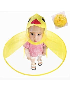Steerfr Los niños de Pato Amarillo OVNI Headwear Impermeable Portable Manos Libres PEVA Impermeable de Capa Paraguas...