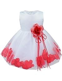 b70ada73527 YiZYiF Baby Mädchen Kleid mit Blütenblätter Taufkleid Festlich Kleid  Hochzeit Party Kleinkind Festzug Kinder Kleidung Tüll…