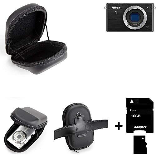 K-S-Trade® Gürteltasche Für Nikon Nikon 1 J4 Kameratasche + 16GB Speicherkarte Hardcase Kompaktkamera Easy Access Leicht Zugänglich Case Schutz Hülle Fototasche (Für Speicherkarte Nikon J4)