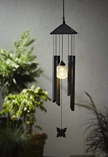 Kamaca LED Solar Windspiel Flying Butterfly aus Edelstahl und Acryl-Glas mit Einer warm weiße LED Lampe und Schmetterling mit Solarpanel (Flying Butterfly)