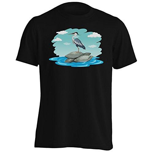 Uccello divertente in piedi su rocce e nubi nuove Uomo T-shirt c494m Black