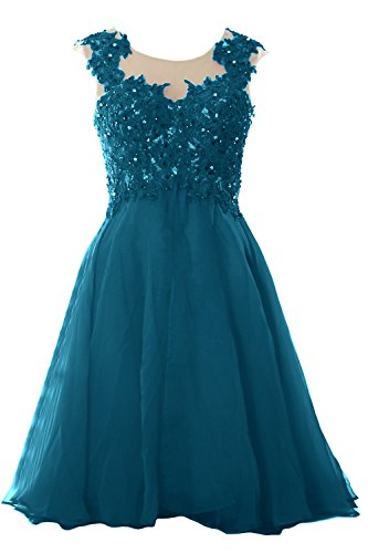 MACloth Women Lace Chiffon Short Prom Dress Wedding Party Formal Homecoming Gown Teal