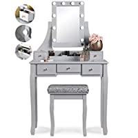 Arianna Deluxe Hollywood Grey Dressing Table with LED Lights and Vanity Mirror 5 Drawers Stool Set For Makeup Jewellery Bedroom
