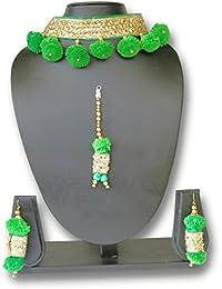 The Peacock Studio Gotta Flower Green Choker Jewellery Set With Earrings And Maang Tikka