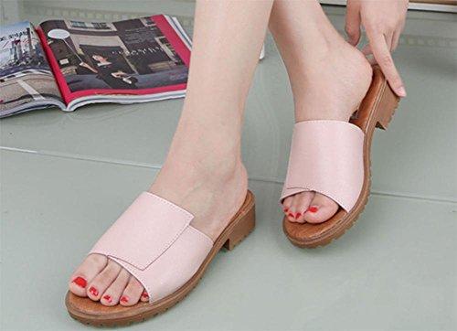 Sommer flach mit flachen Sandalen Retro-Schritt auf der Linie rutschen einfach das Wort Frauenschuh Pink