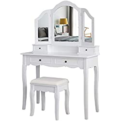 Meerveil Coiffeuse avec Tabouret-Blanche-Mirroir-Bois-Femme Table de Maquillage en MDF avec 4 Tiroirs et 3 Miroirs Tournable, Pieds Stable, pour Femme ou Enfant