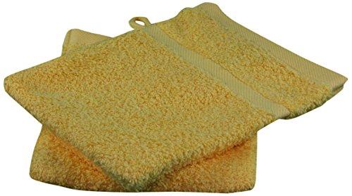 Gözze 7881-75-A1 Sylt - Juego de 4 manoplas de ducha (16/21 cm), algodón rizado, dorado, 16 x 21 cm