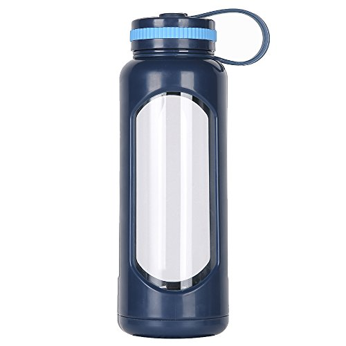 weitinena 33 oz Glas Wasser Flasche PC Sleeve auslaufsicherer Deckel 1l Kapazität BPA-frei - 33oz-wasser-flasche