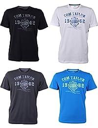 TOM TAILOR Herren Rundhals T-Shirt Logo Tee Basic - 4er Pack