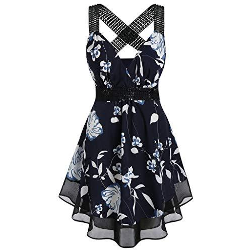chnitt Plus Size Blumendruck Tunika Tank Top Cute Black Tutu Waist Slim Casual Cotton 2019 ärmellose Hemden Bluse Gelb, Weiß, Schwarz, Navy ()