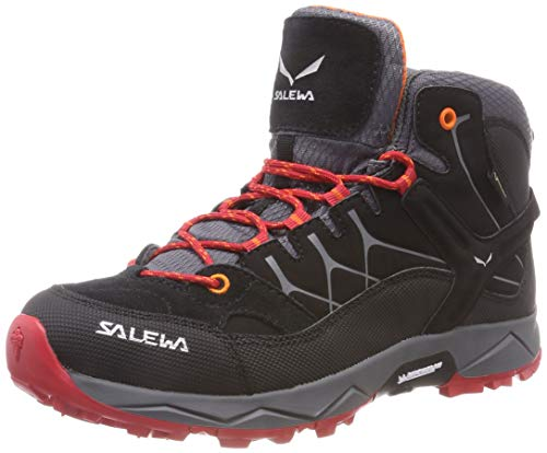 Salewa JR ALP TRAINER MID GTX, Jungen Trekking- & Wanderstiefel, Schwarz (Black/bergrot 928), 34 EU (2 UK)