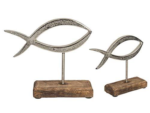 MC Trend Metall-Fisch auf Holz-Standfuß Wohn-Accessoires Kommunion-Zimmer-Deko Geschenk-Idee (Metall-Fisch auf Holz-Standfuß 18 x 17 cm)