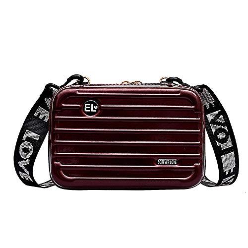 Borsa a tracolla a forma di mini valigia con guscio duro, cinturino in pelle PU con tracolla a tracolla doppia cerniera per custodia cosmetica da viaggio portatile da donna (Vino rosso)