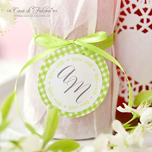 Personalisierte Aufkleber Hochzeit mit Initialen, Ranke | Mit deinem Wunschnamen/Wunschtext | 40mm, rund | 20, 50, 100, 200 oder 1.000 Stück