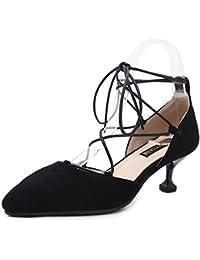 LJO Damen Sandalen Mitte Heels Kreuz Bandagen Sommer Spitzen Mode Baotou Asakuchi Schuhe