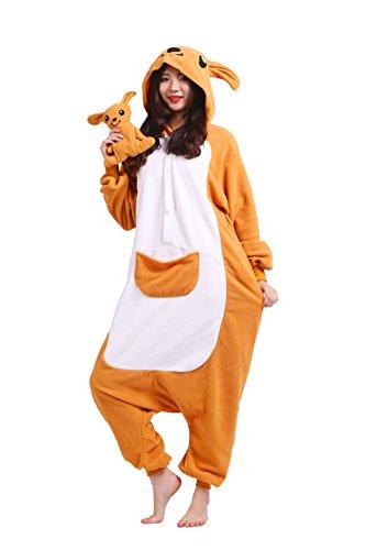 lt Pyjamas Partei Cosplay Kostüm Cartoon Tier Kigurumi Kapuzen Strampelanzug Anime Nachtwäsche Känguru L (Erwachsenen Strampelanzug Kostüm)